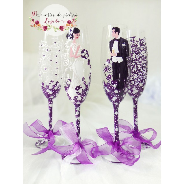 "Pahare pictate manual pentru miri ""Elegant wedding purple"""