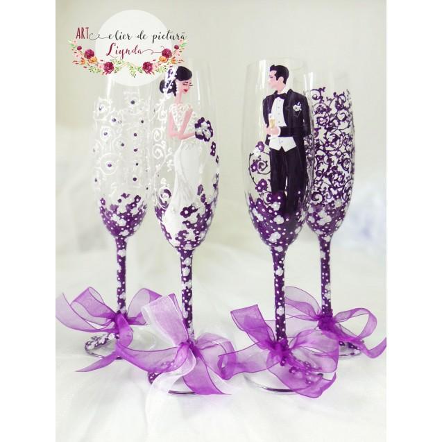 "Pahare miri, cristal ""Purple&white"""