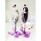 "Pahare pictate manual nasi ""Elegant wedding purple"""