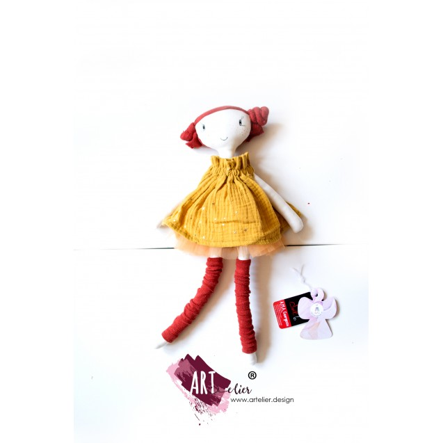 GIFT set - children's sundress made of soft cotton muslin, digitally printed, yellow with golden stars and matching doll, handmade