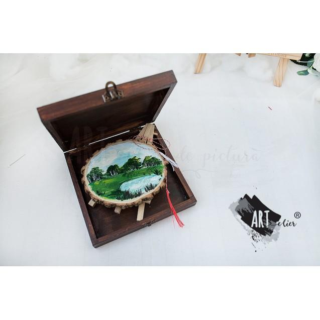 Cutie din lemn pictata manual - Peisaj01
