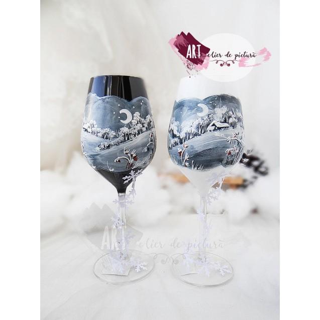 Set pahare vin rosu Wine Christmas - Winter House