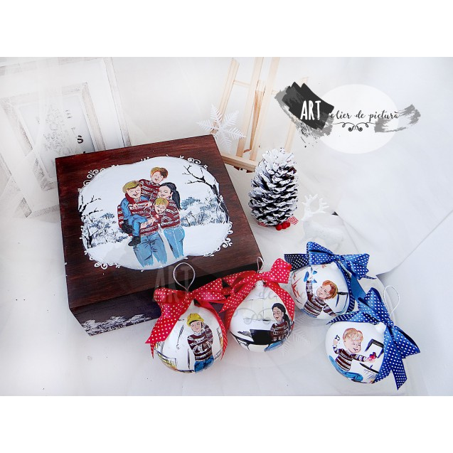 Family Christmas Set 4X10cm