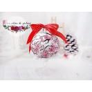 """Glob din sticla, pictat manual """"Flori de Craciun- Cires"""""""