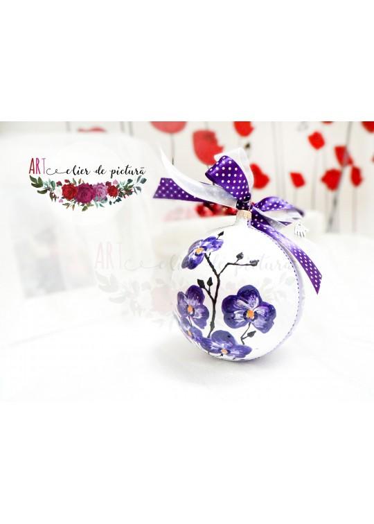 """Glob din sticla, pictat manual """"Flori de Craciun- Orhidee mov"""""""