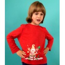 Christmas Handpainted Red Sweater with Reindeer