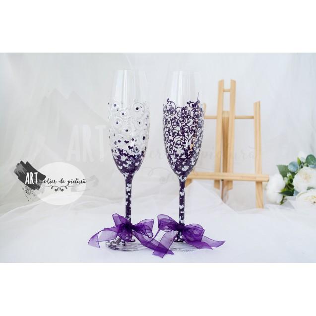 """Handpainted wedding glasses """"Butterflies purple&sidef"""""""