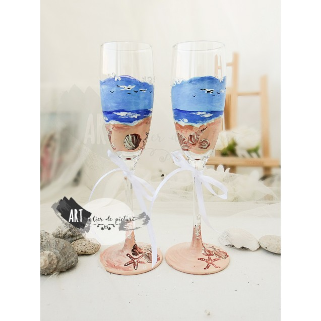 Handpainted champagne glasses - Seaside Mood