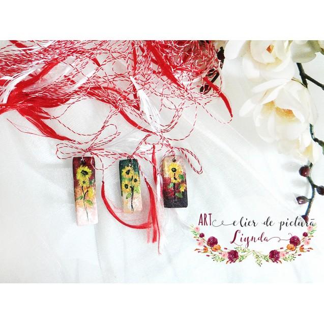 Martisoare pictate, mini-tablou cu flori