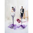 "Pahare pictate manual pentru miri ""Elegant wedding purple"" - fluturi"