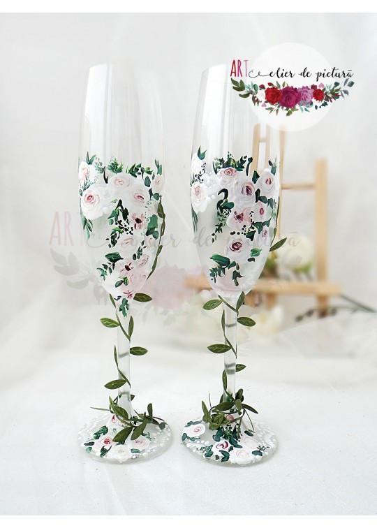 Pahare pictate manual miri Greenery Rose 2017