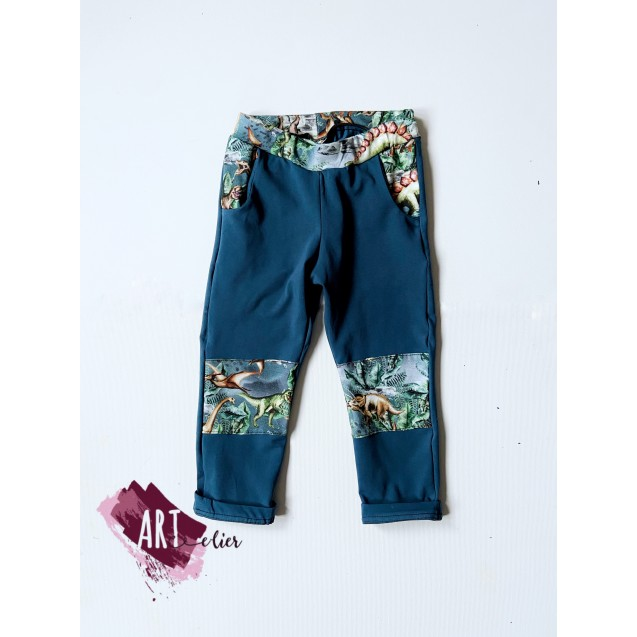 Children's trousers, cotton, blue petrol with Dino