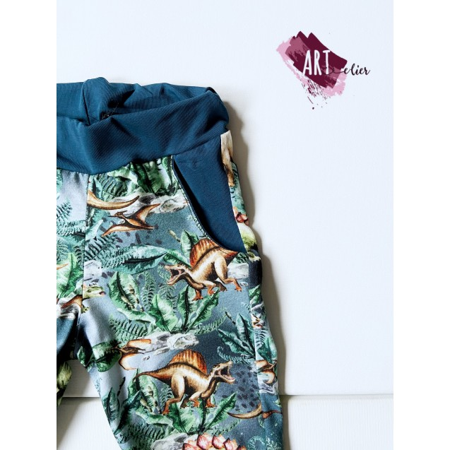 Children's trousers, cotton, navy with Dino