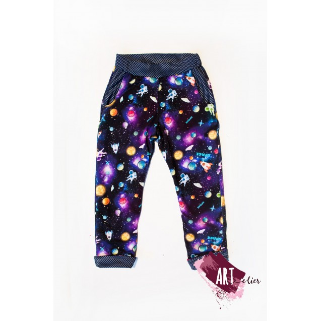 Children's trousers, cotton, navy with Galaxy
