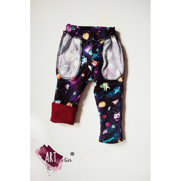 Boiled Wool Children's trousers, doubled with cotton, bordo with Galaxy