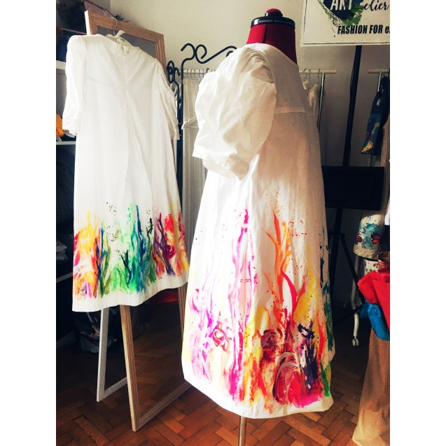 """Handpainted Women Dress, 100% Cotton, White with Thematic Painting """"Fluorescent Corali"""""""