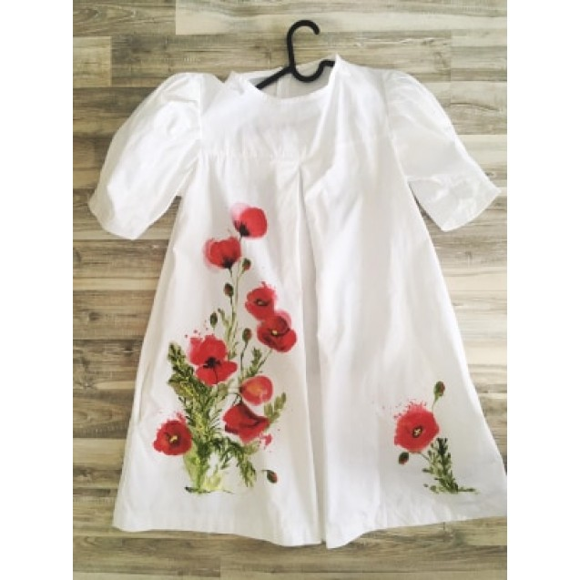 Handpainted Women Dress, 100% Cotton, White with The Simphony of Poppies