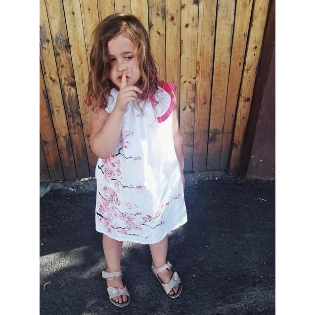 Linen children's dress, handpainted, Cherry Blossoms