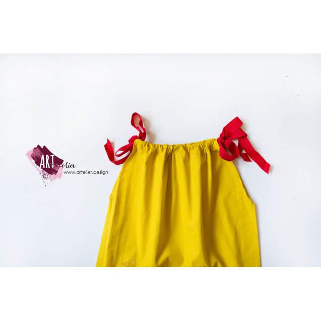 Children's dress, summer, made of recycled cotton, hand-painted - Watermelon