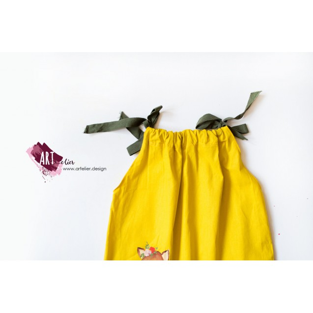 Children's dress, summer, made of recycled cotton, hand-painted