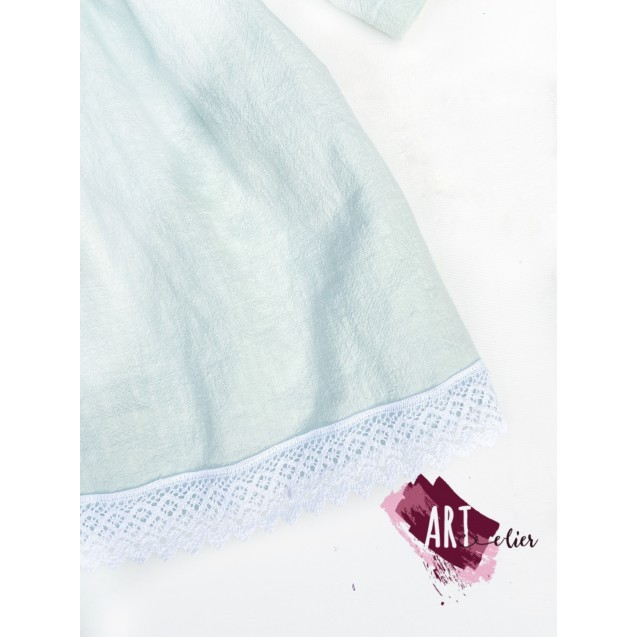 Elegant children's dress, made from pre-washed linen and cotton lace - Pastel Mint