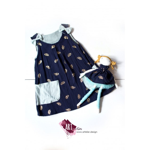 GIFT set - Kid's dress made of soft cotton double gauze, blue navy with golden feathers and matching handmade doll