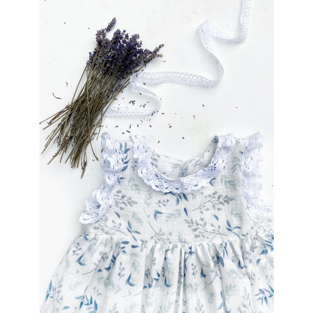 Children's dress, made of double gauze cotton,,digitaly printed - blue flowers