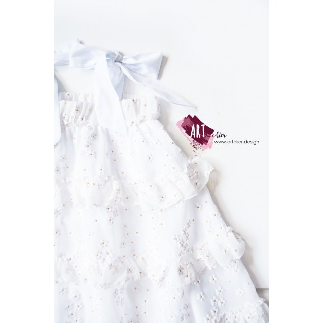 Children's dress, princess type, long, made of cotton and veil, digitally printed with white flowers and golden accents