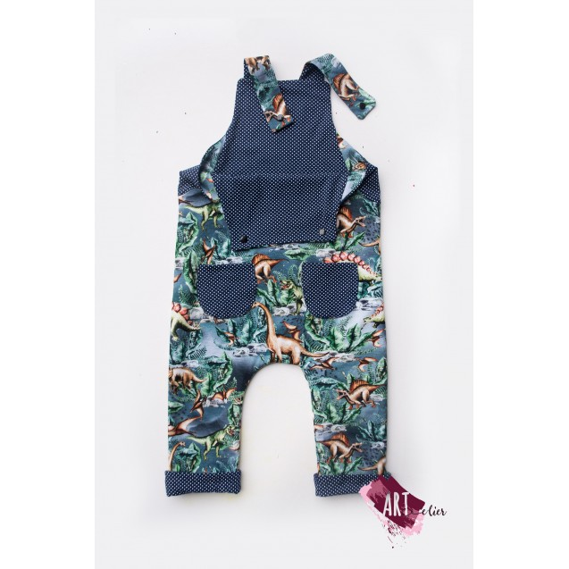 Children and newborn jumpsuit, reversible, cotton, navy with dinosaurs