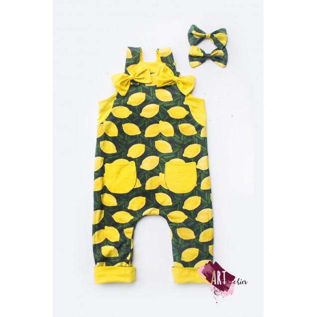 Children and Newborn Jumpsuit, Reversible, Cotton, Yellow Colour with Lemon