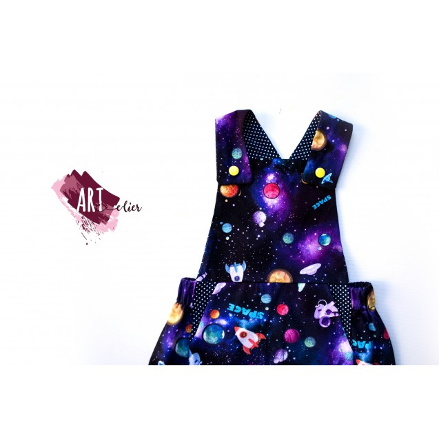 Children and Newborn Jumpsuit, for Summer, Cotton, Navy Blue Colour with Galaxy