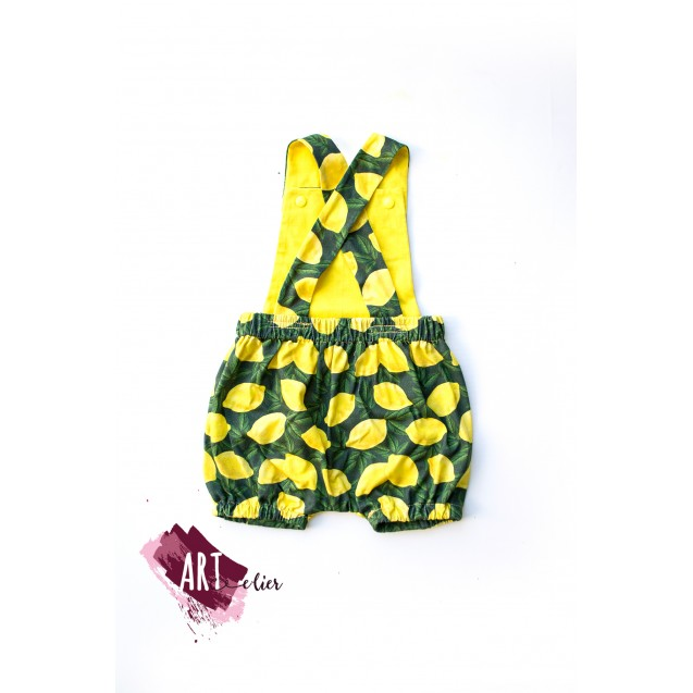 Children and Newborn Jumpsuit, for Summer, Cotton, Yellow Colour with Lemon