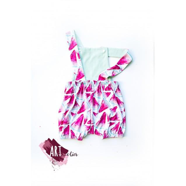 Children and Newborn Jumpsuit, for Summer, Cotton, Mint Colour with Watermelon