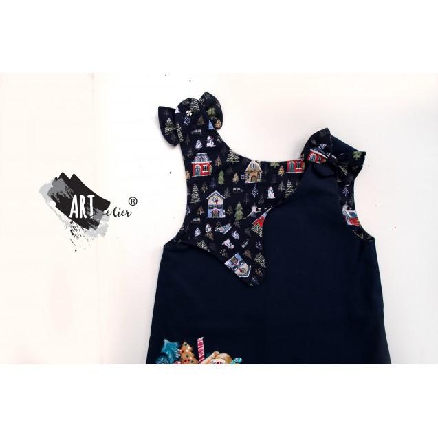 Christmas Gift Handpainted Dark Blue Sundress with Gnom Plush Toy