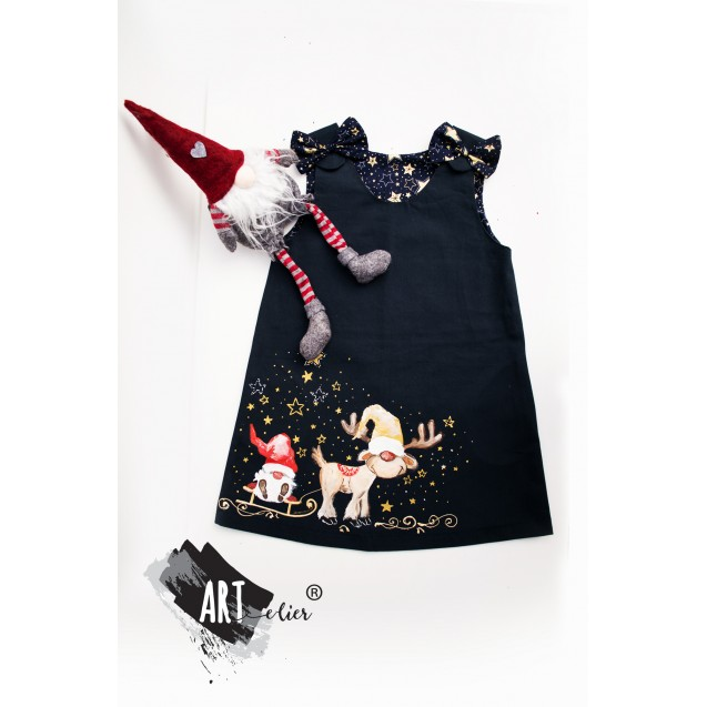 Christmas Gift Handpainted Blue Navy Sundress with Reindeer Plush Toy / Happy Gnom - LIMITED EDITION