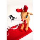 Christmas Gift Handpainted Red Sundress with Reindeer Plush Toy with Christmas Song