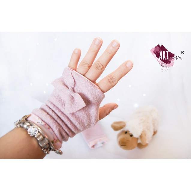 Handmade Fingers Free Gloves, made from Boiled Wool, Old Pink Colour