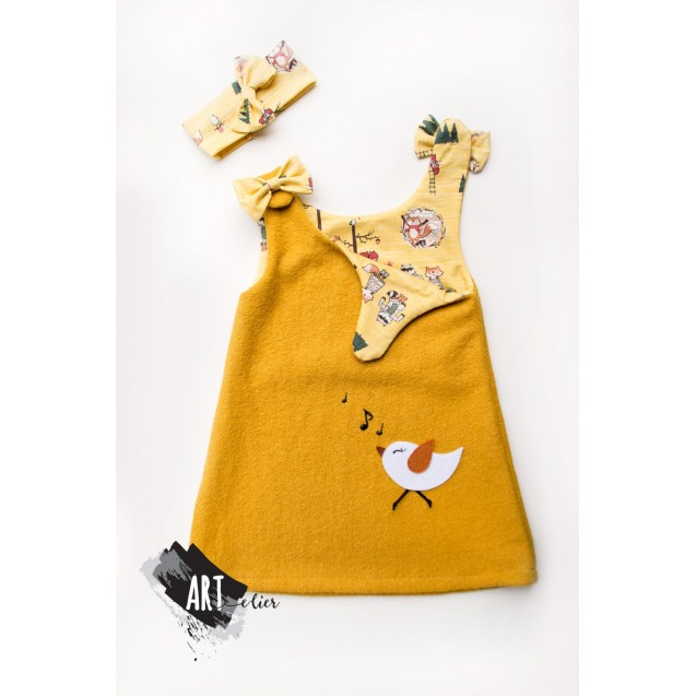Boiled Wool Sundress for girls, yellow, with sheep toy