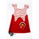 Boiled Wool Sundress for girls, Fire Red with toy sheep
