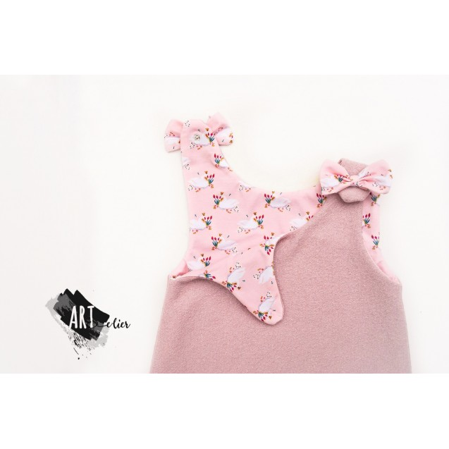 Boiled Wool Sundress for girls, old rose with toy sheep - OUT OF STOCK