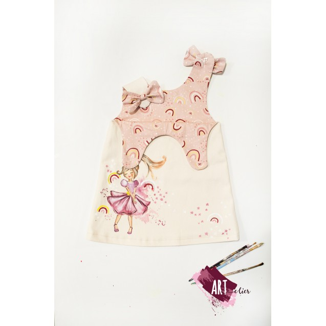 Handpainted Sundress for girls, beige with Purple Ballerina