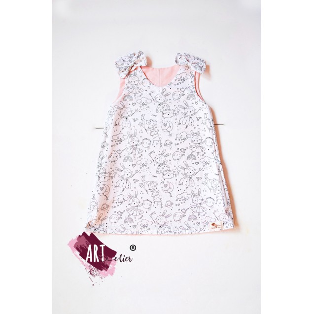 GIFT SET Handpainted Sundress for girls, old pink with two faces, a coloring face with washable crayons included with toy