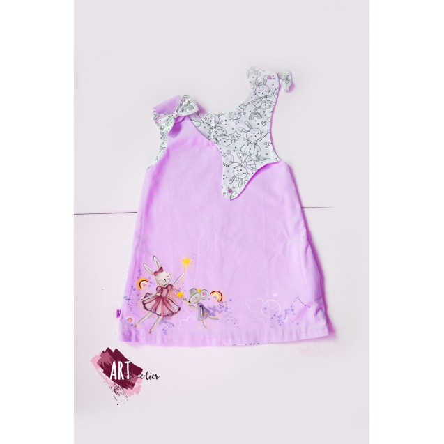 Handpainted Sundress for girls, lilac with two faces, a coloring face with washable crayons included