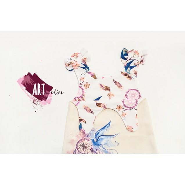 Handpainted Sundress for girls, beige with Purple Dreamcatcher
