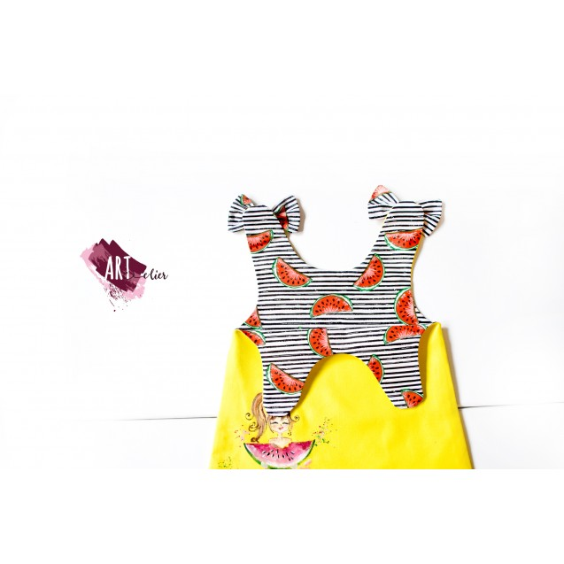 Handpainted Sundress for girls, Yellow with Red Watermelon