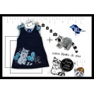 Gift Pack Handpainted Sundress for girls, blue navy with racoon+Raccon Toy