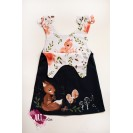 Handpainted Sundress for girls, blue navy with squirell