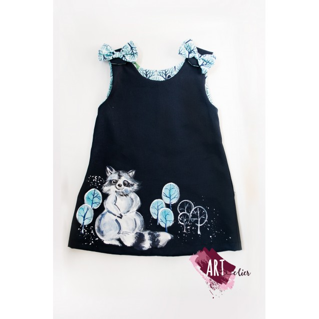 Handpainted Sundress for girls, blue navy with racoon