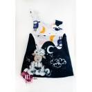 Handpainted Sundress for girls, blue navy with sleepy ship