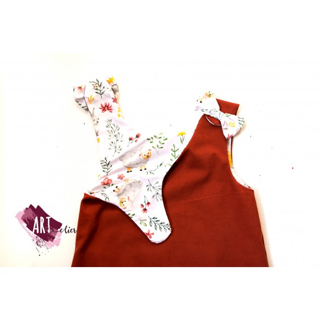 Handpainted Sundress for girls, Brick-Red Colour with Hedgehog